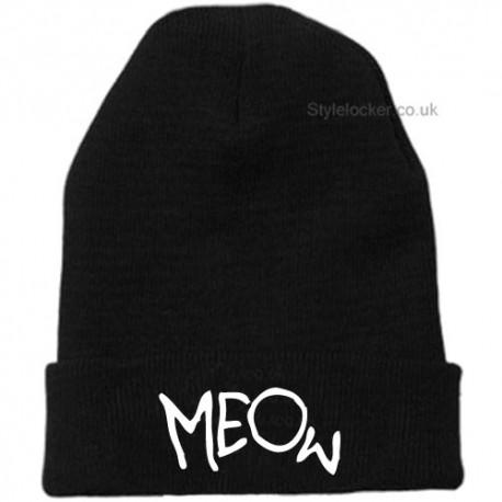 Meow Beanie Hat Black