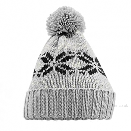 Fairisle Snow Winter Beanie Hat Grey