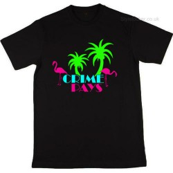 Crime Pays Vice City Miami Black T-Shirt